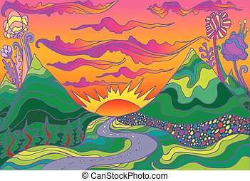 psicodélico, paisaje, sol, sunset., estilo, camino, hippie, ...