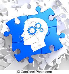 psicológico, azul, concepto, puzzle.