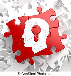 psicológico, conceito, ligado, vermelho, puzzle.