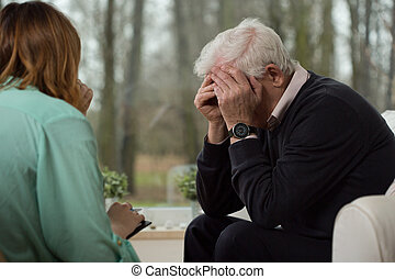 psicológico, durante, desesperación, terapia, hombre