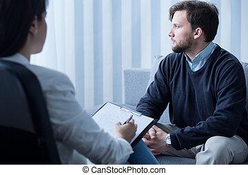 psicológico, durante, terapia, homem jovem
