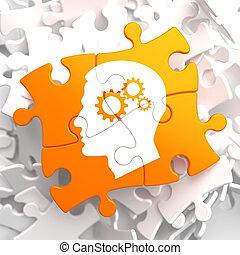 psicológico, laranja, conceito, puzzle.
