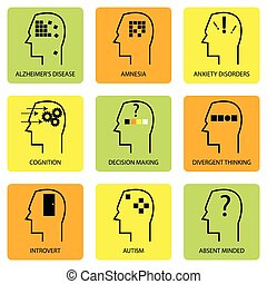psicológico, mente, ícone