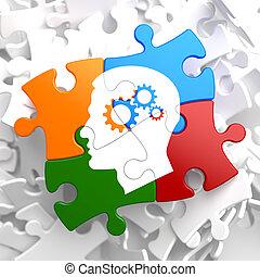 psicológico, multicolor, conceito, puzzle.