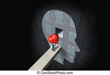 psicología, de, amor