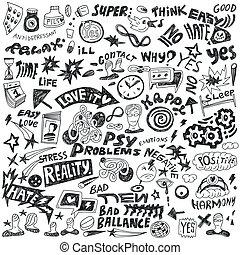 psicología, -, doodles, conjunto