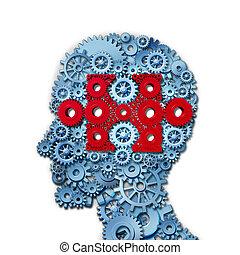 psicología, rompecabezas, cabeza