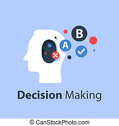 psicologia, decisão, comunicação, crítico, pensando, fazer, conceito, escolha