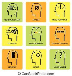 psicologico, mente, icona