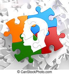 psicologico, multicolor, concetto, puzzle.