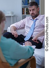psicologico, uomo affari, bisogno, terapia
