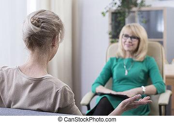 psicoterapeuta, paciente, escuchar, hembra