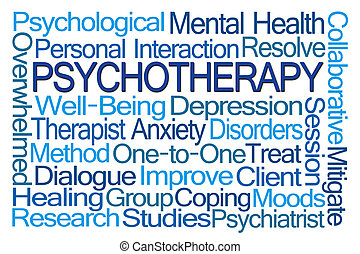psicoterapia, palavra, nuvem