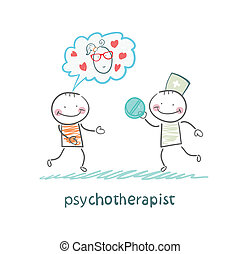 psicoterapista, paziente, pillola, dà