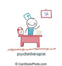 psicoterapista, suo, lavorando ufficio