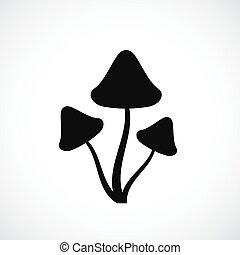 Psilocybin hallucinogenic mushrooms silhouette icon