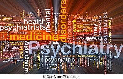 psiquiatria, glowing, conceito, fundo