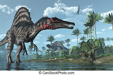 psittacosaurus, dinosaures, préhistorique, scène,...