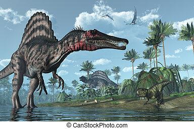 psittacosaurus, dinosaurios, prehistórico, escena, spinosaurus