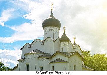 pskov., 古い, 中心, 教会