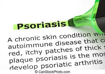 psoriasis, highlighted, hos, grønne, marker