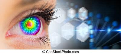 psychédélique, composite, devant, femme, regarder, image, oeil, figure