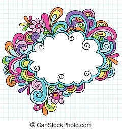 psychédélique, nuage, cadre, doodles