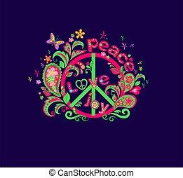 psychédélique, symbole paix, impression, amour, hippie, fond, mot, paisley, fleurs, papillon, joie, navy-blue, rigolote, ornement