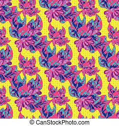 psychedelic abstract flowers on a yellow background seamless pattern vector illustration
