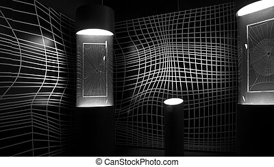 Psychedelic black and white wall.