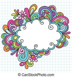 Psychedelic Groovy Notebook Doodle Cloud Speech Bubble Design Element on White Graph (Grid) Sketchbook Paper Background- Vector Illustration
