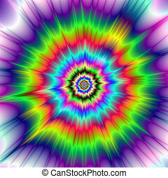 Psychedelic Color Explosion - A digital abstract fractal...