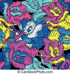 psychedelic color roses seamless pattern grunge texture vector illustration