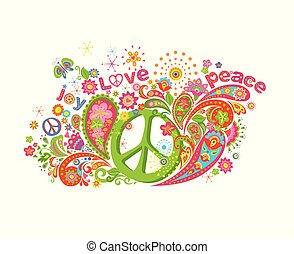 Psychedelic colorful print with hippie peace symbol, flower-power, love, peace and joy word, butterfly and paisley