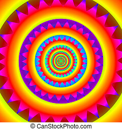 Psychedelic concentric rings, abstract rainbow mandala -...