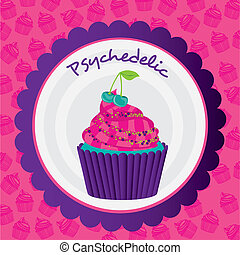 psychedelic cupcake sticker - psychedelic cupcake label on...