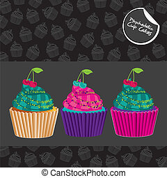 psychedelic cupcakes set, isolated on black with pattern of...