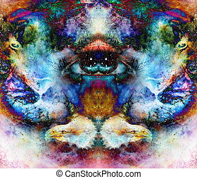 psychedelic eyes and eagle heads on multicolor abstract...