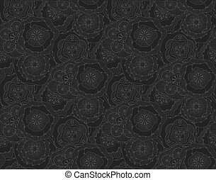 Psychedelic floral doodle seamless pattern