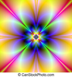 Psychedelic Flower - Digital abstract fractal image with a...