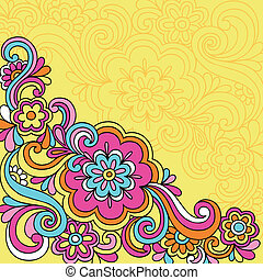 Psychedelic Flower Notebook Doodles - Hand-Drawn Psychedelic...
