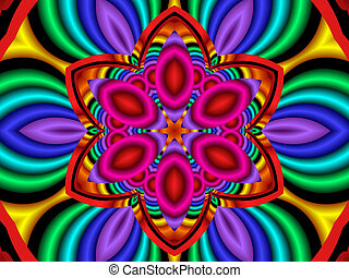 psychedelic flower power - Colorful, psychedelic flower,...