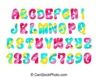 Psychedelic font with colorful pattern. Vintage hippie...