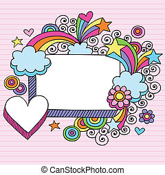 Hand-Drawn Psychedelic Stars, Rainbow, and Clouds Notebook Doodle Frame on Lined Paper Background- Vector Illustration