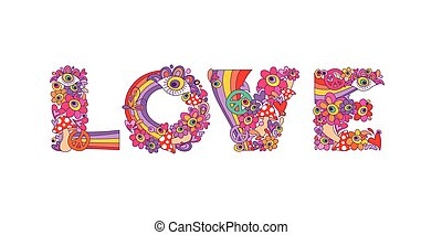 Psychedelic hippie love lettering with colorful abstract...