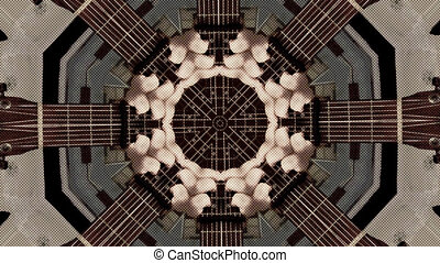 Psychedelic kaleidoscopic acoustic guitar - Abstract dot...