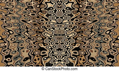 Psychedelic kaleidoscopic motion background of earth tone...