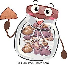 Psychedelic Mushroom Bottle Mascot Storage Illustration