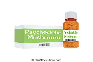 Psychedelic Mushroom concept - 3D illustration of...