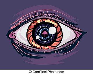 Psychedelic Mushroom Eye Addict